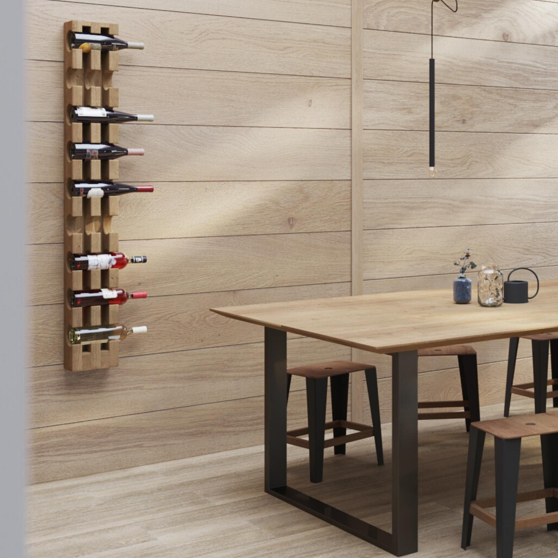 9 Bottles Wall Mounted Wine Solid Oak Wood Woodek Design
